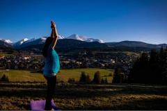 Der Yoga-Baum mit dem Lungauer Preber im Hintergrund